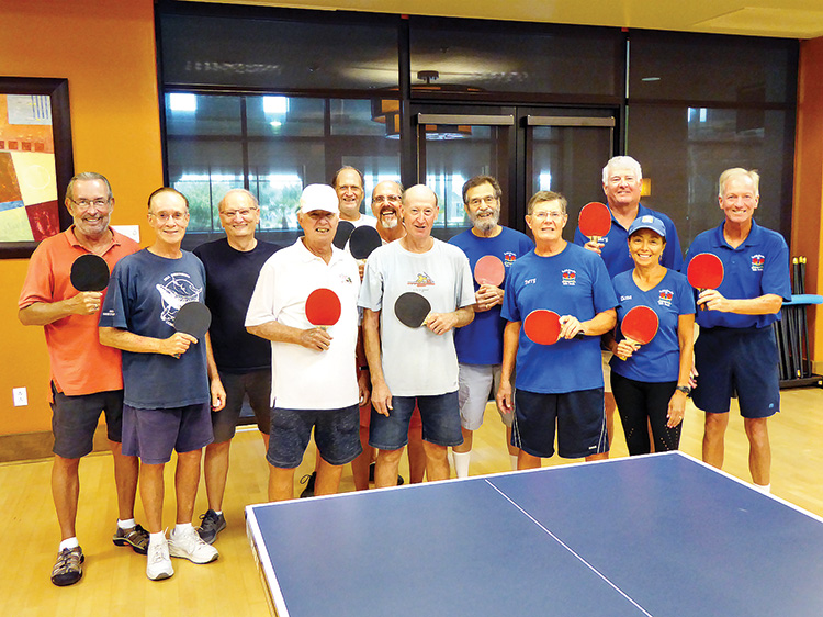Left to right: Steve Chapman, John Hess, Gary Gonzales, Fred Schneider, Roger Cowles, John Hammond, Gary Crane, Ed Mandler, Terry Caldwell, Gary Stevens, Elona Martin, and Jeff Bowen at the SaddleBrooke Ranch Table Tennis Competition.