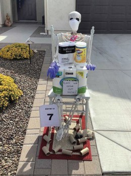 The skeleton tableau created by Paul and Kate Thomsen was selected as the Funniest entry in Unit 8A's 50th Happy Hour driveway display contest. (Photo by Steve Weiss)