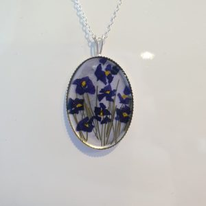 Silver African Violet Pendant