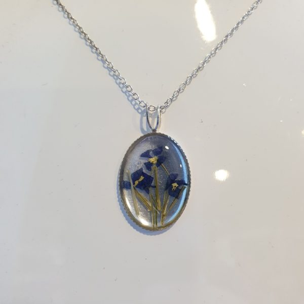 Silver African Violet Pendant
