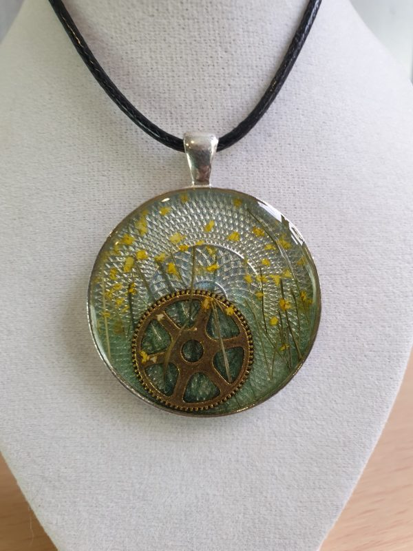 Steampunk Cogs and Buttercup Pendant