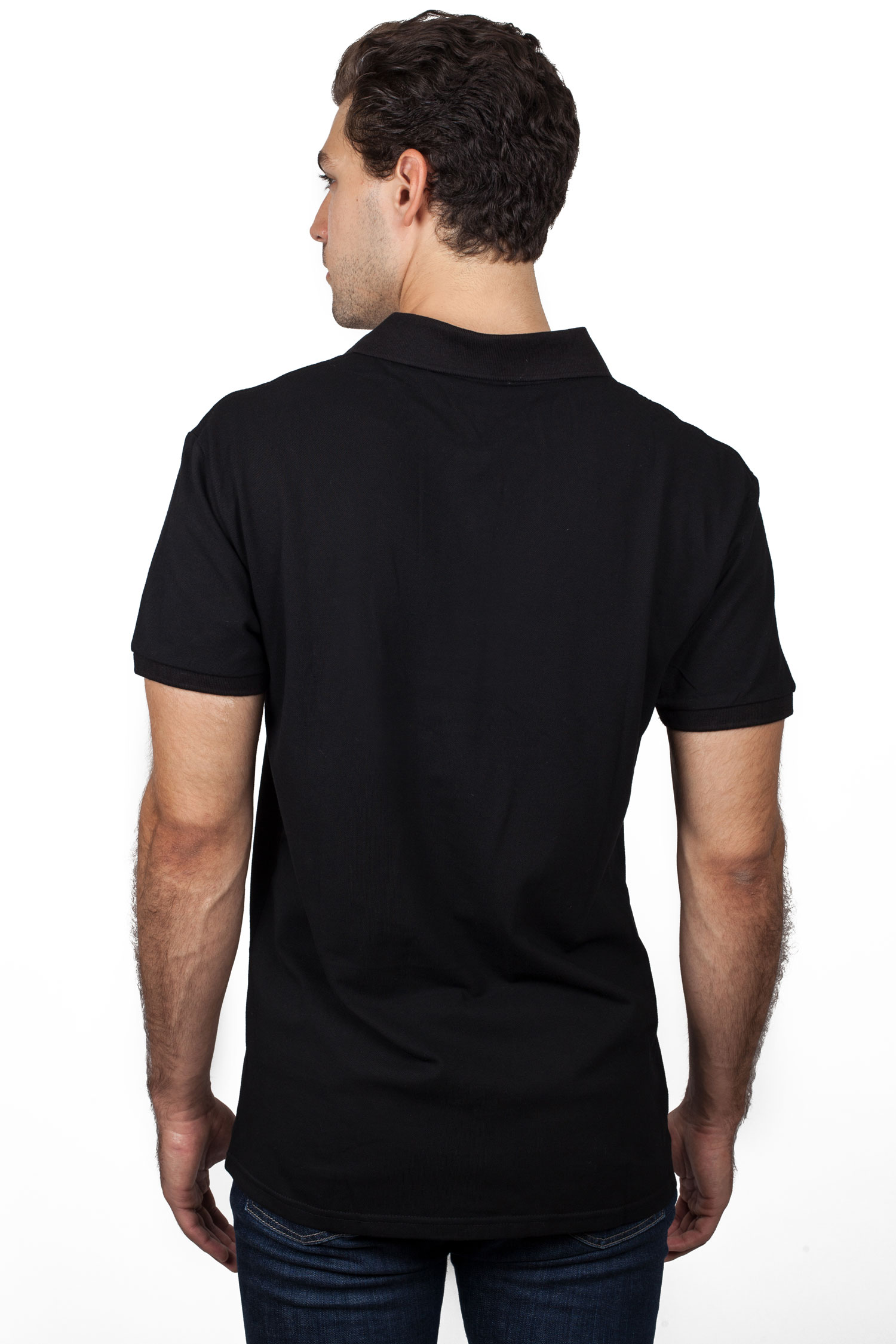 Black Polo Shirt with Old Gold SAE Greek Letters
