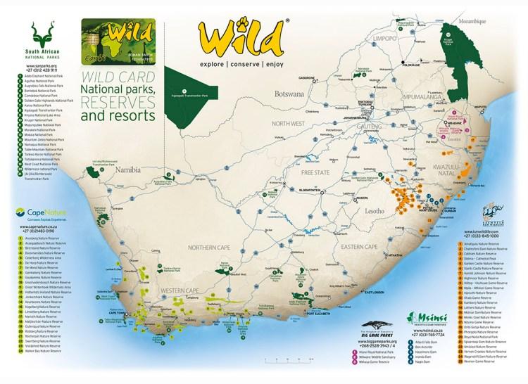 Wild Card Map. Karte dazugehöriger Nationalparks, Reservate und Resorts