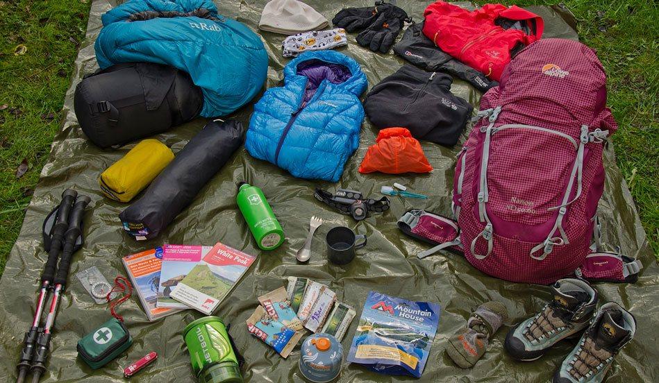 Snacks, Compasses, Knife in backpack