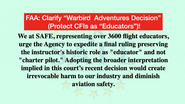 "Clarify FAA ""Warbird Adventures"" Ruling!"