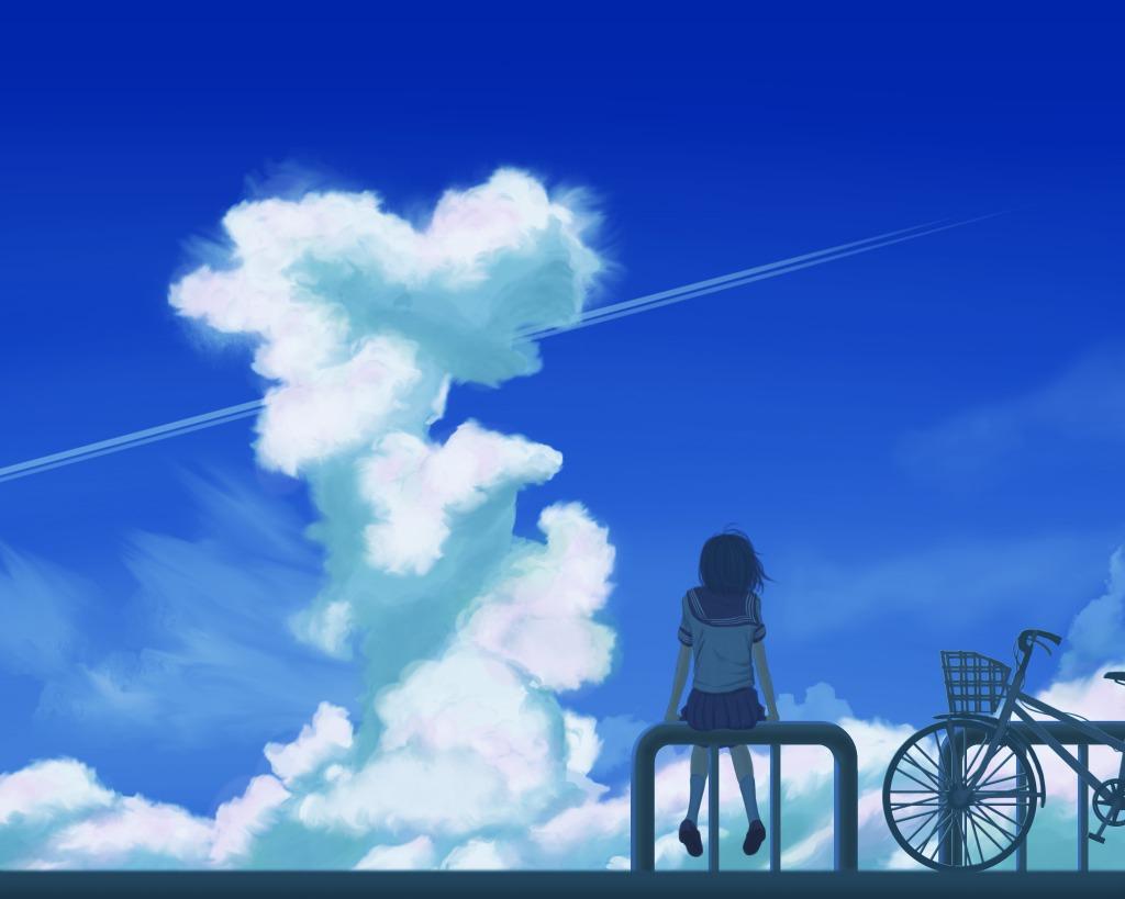 1girl bicycle condensation_trail natsu3390 original scenery school_uniform serafuku short_hair sky solo summer uniform