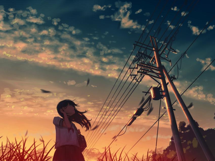 1girl blurry depth_of_field highres long_hair natsu3390 original power_lines scenery school_uniform serafuku solo summer sunset telephone_pole wind