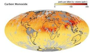 Global Map of Carbon Monoxide concentration.