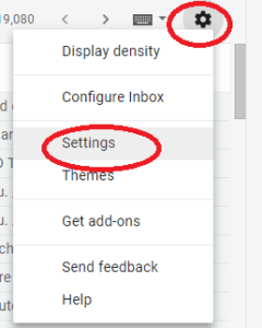 Screenshot settings menu Gmail