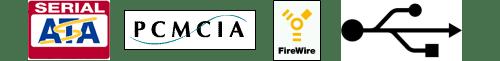 USB, SATA, FireWire, PCMCIA logos