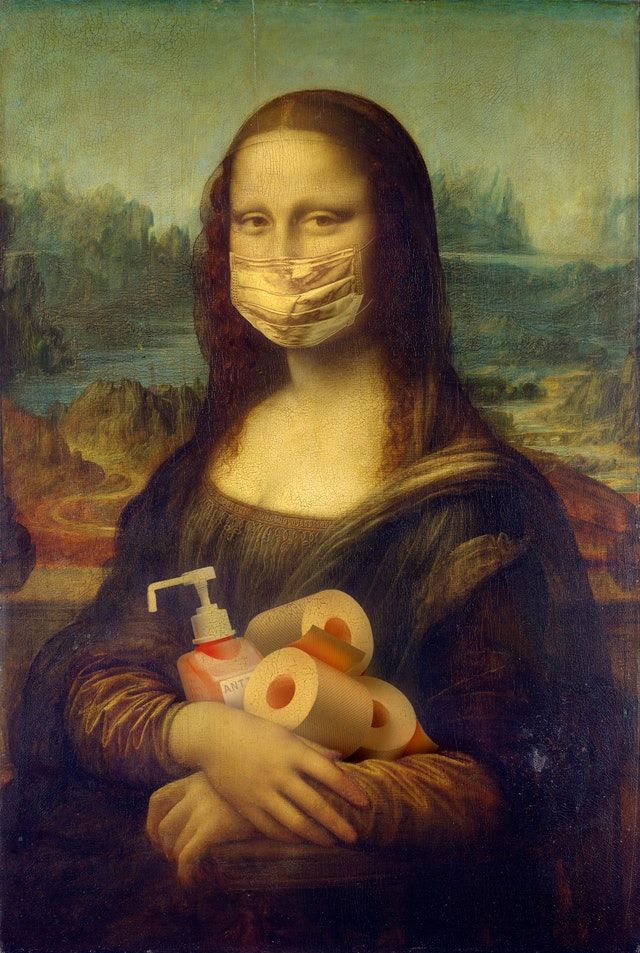 Mona Lisa with mask, hand sanitiser and toilet paper