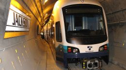 link light rail parked in tunnel
