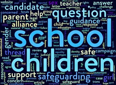 Word cloud showing Safe Schools Alliance's frequently used words on Twitter.