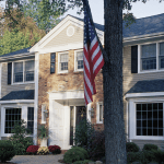 Pretty House with US Flag