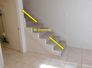 Missing guardrail home inspection issue