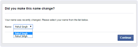 facbook change name before days limit