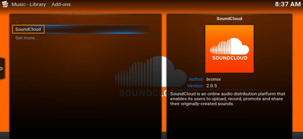 soundcloud kodi add on
