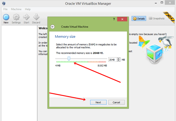 select memory size for virtual machine