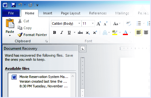 autorecover ms word