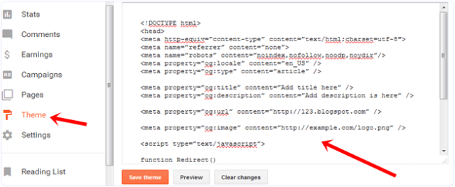 paste redirection code on blogger blog