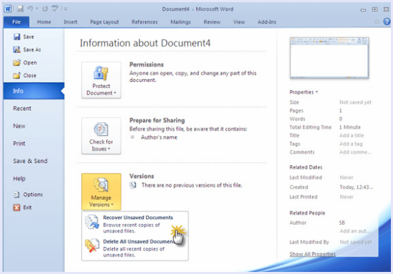 recover unsaved msword doccument