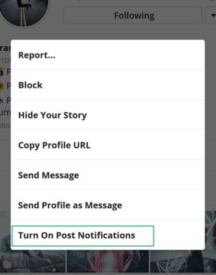 turn on notifications instagram