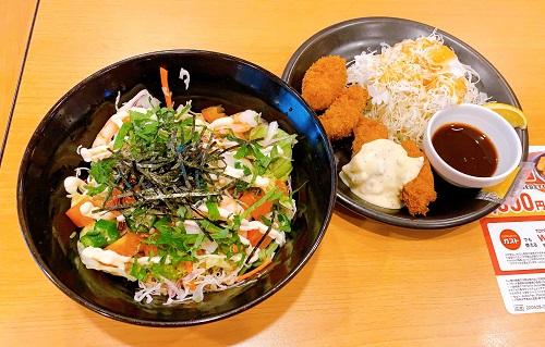 ガストの海老と山芋オクラのねばとろサラダ麺とカキフライ