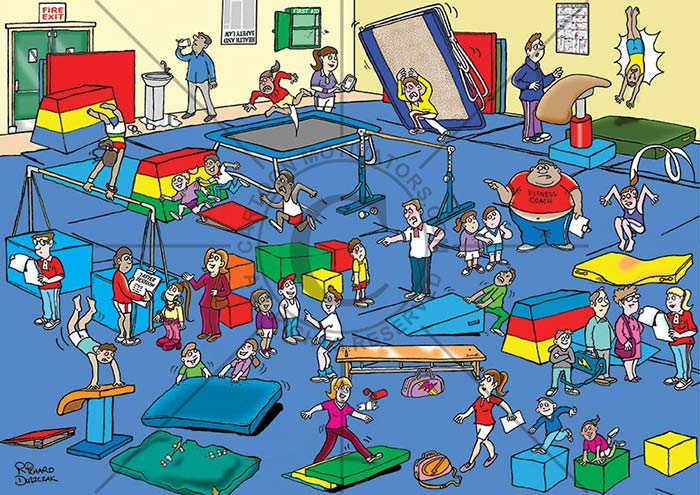health and safety cartoon,gymnasium spot the hazards cartoon, falling gym equipment, tired and worn mats, trip hazards, bullying coach, and other hazards common in a gymnasium.