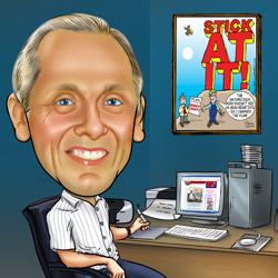 caricature of Richard Duszczak sat at his desk drawing a cartoon