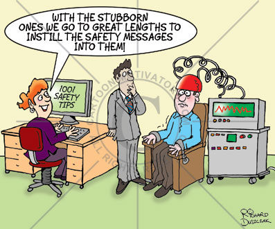 health and safety cartoons, wired wired up to a computer so that 1001 safety tips can be embedded into his brain. Office cartoon