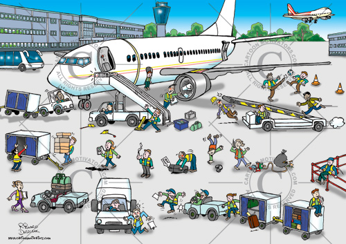 airline ground staff health and safety hazards, picture of aeroplane, staff doing things wrong like smoking, messing around, incorrect lifting, playing football