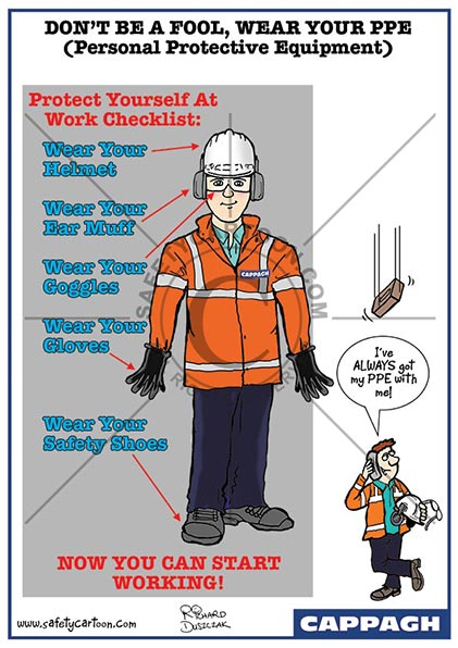 health and safety cartoons of a worker in a hi-vis vest and PPE  another guy with a brick about to drop on his head