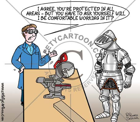 safety tips, health and safety cartoon of a worker dressed in a suit of armour, he's overdoing the PPE, there's a mitre saw on a bench colleague talking to him