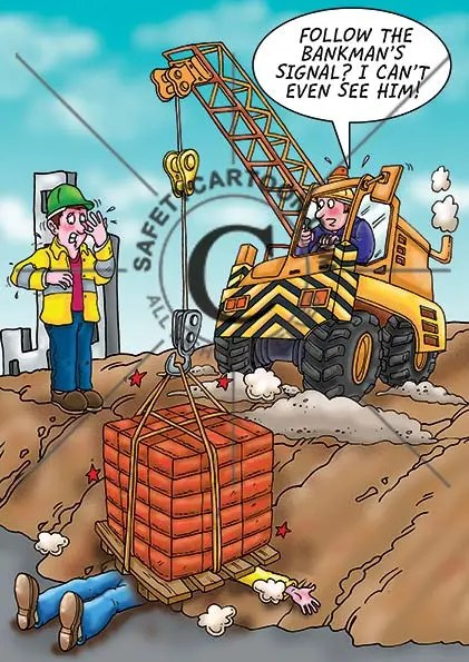 health and safety cartoon of a small crane dropping it's load onto a worker who is buried by a pallet of bricks
