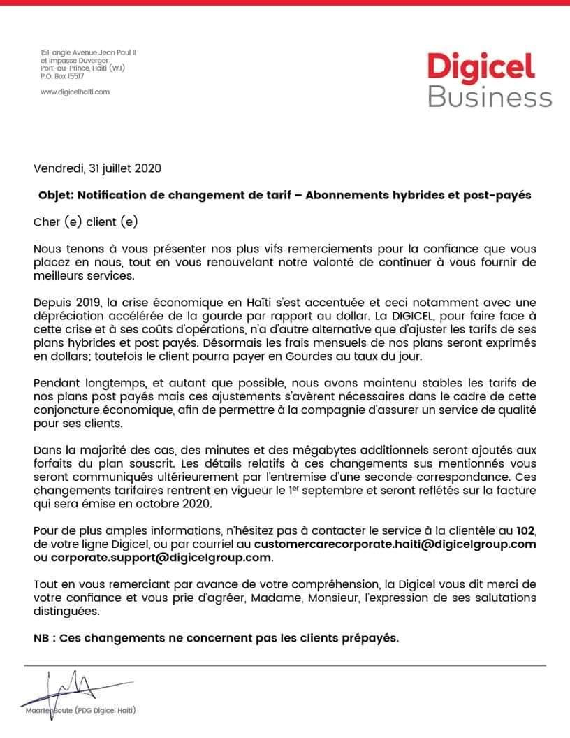 La Digicel augmente officiellement ses tarifs