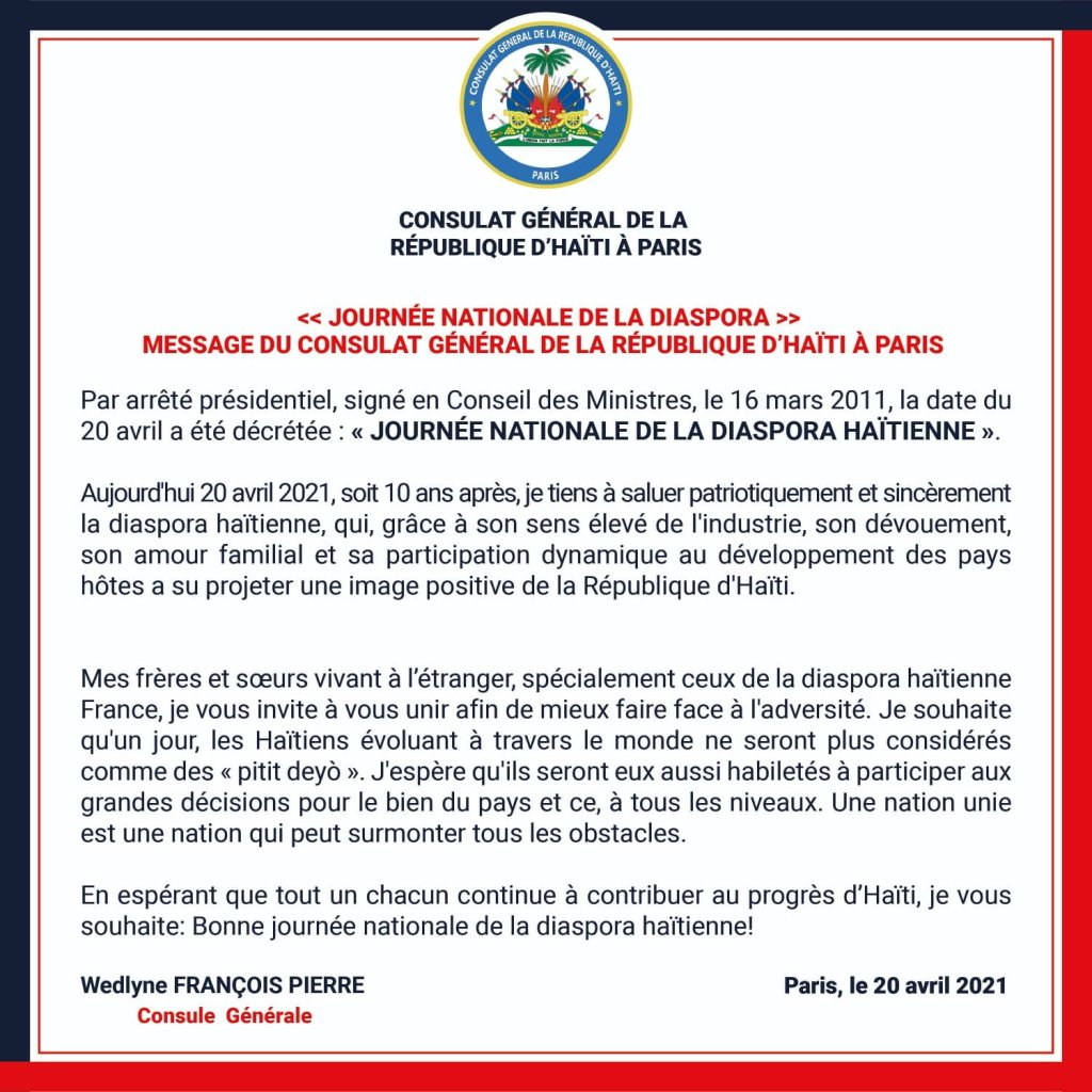 Message de la Consule Générale de la République d'Haïti à Paris à l'occasion de la Journée nationale de la diaspora