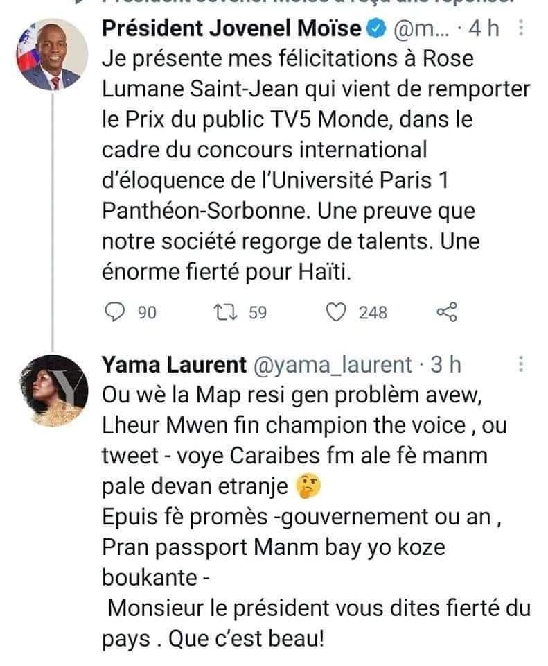Yama Laurent gagnante de La Voix réagit au tweet du Président Jovenel Moise