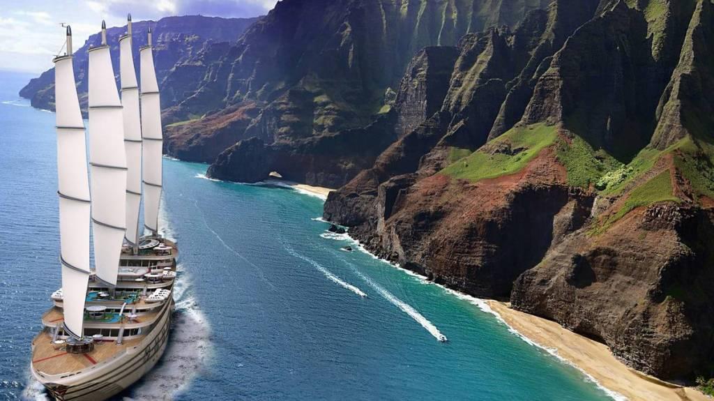 Megayacht de 520 pieds conçu avec quatre voiles et huit ponts