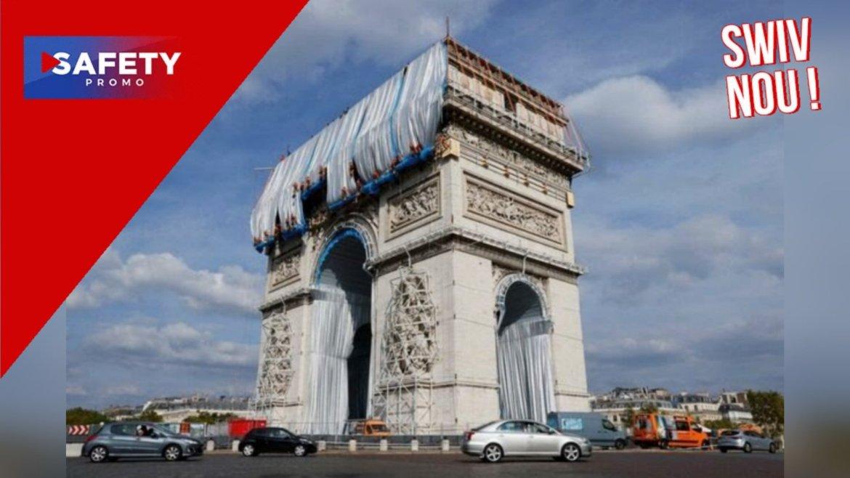 Paris : l'incroyable empaquetage de l'Arc de Triomphe par Christo en huit images