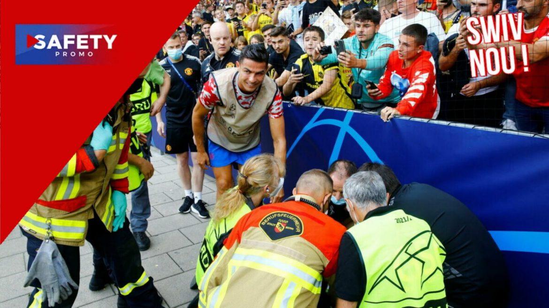 Ligue des champions : Cristiano Ronaldo tire dans la tête d'une stadière puis lui offre son maillot