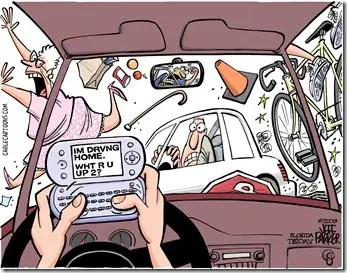 texting while driving cartoon