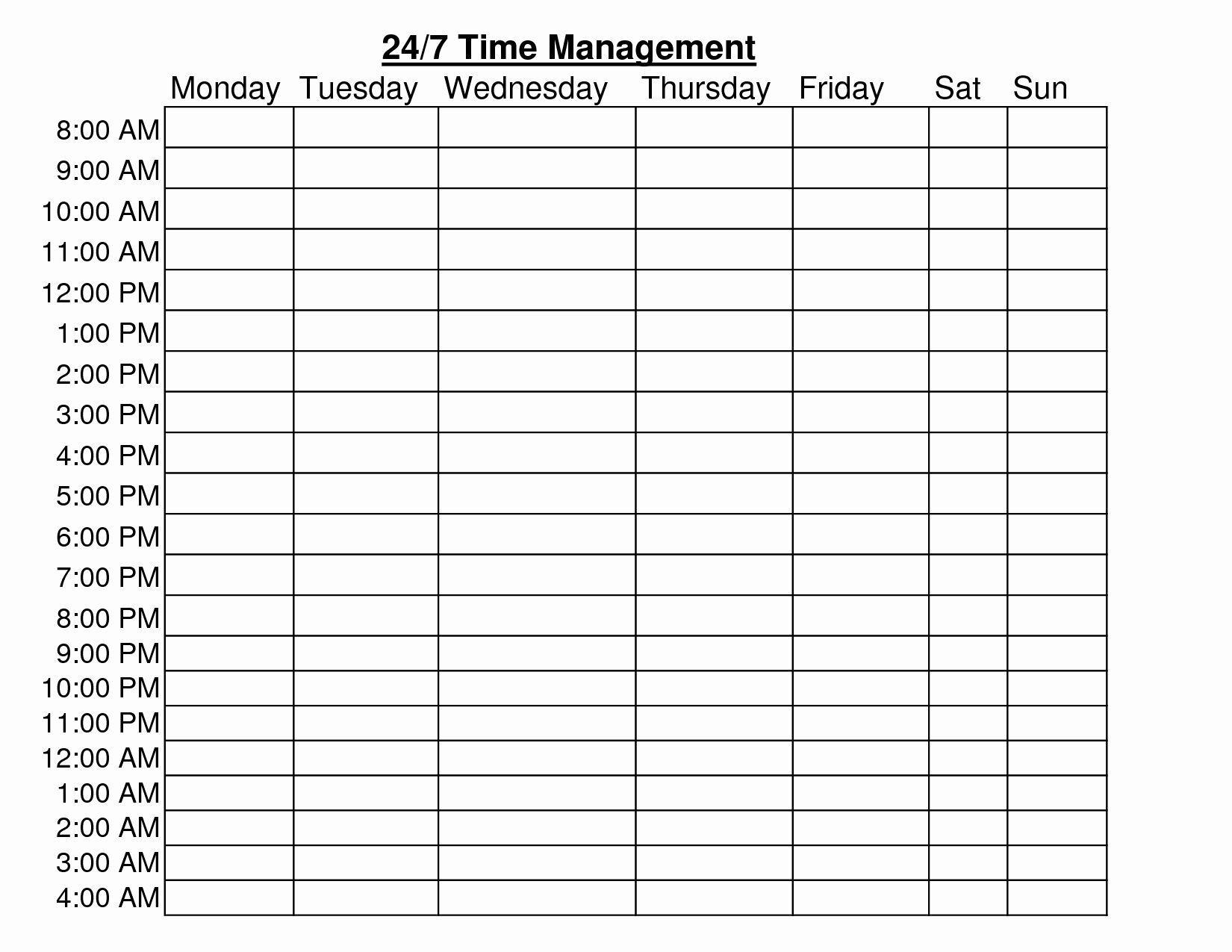 7 Days Week 24 Hour Schedule Ms Word Template