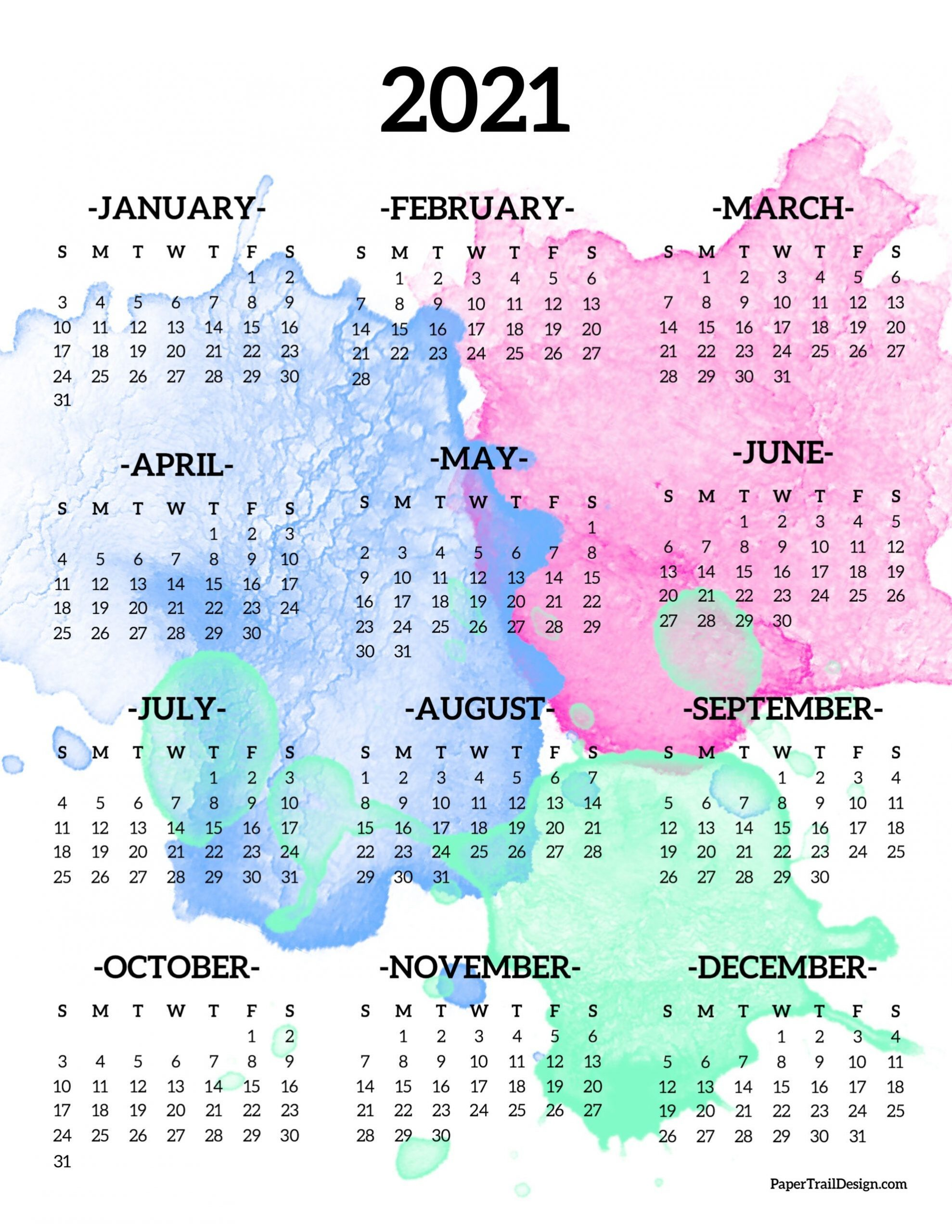 04/09/2021· below are year 2021 printable calendars you're welcome to download and print. 2021 Year At A Glance Free - Example Calendar Printable