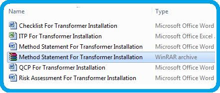 Method Statement For Transformer Installation