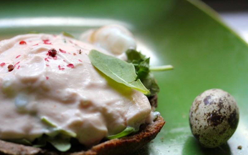 Quail eggs benedict with tomato yogurt