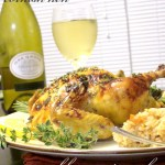 three herb roasted chicken with maple and honey glaze