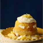 Savarin in saffron- pineapple syrup and Chantilly cream  – Daring Bakers April challenge