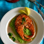 Giada's salmon in lemon brodetto with pea puree – spring / summer special