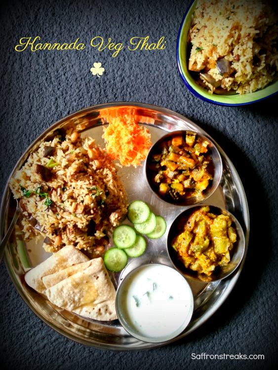 Karnataka Veg Thali {Kannadiga Oota} - South Indian Meal Series