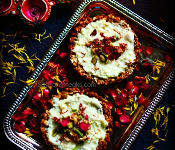 granola tart with rabdi cream